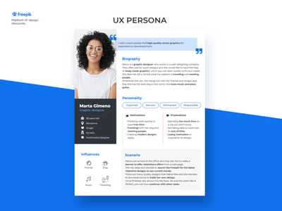 UX Persona biography scenario graphicdesign needs freepik userexperiencedesign ui design userresearch research ux design persona person uiux userexperience uxdesign userinterface user ux