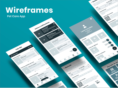 Wireframes Pet Care App application animals wireframe design wireframes wireframing pet care appdesign app pet userinterface uidesign user userexperience uiux graphicdesign uxdesign ux ui design wireframe