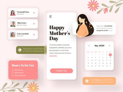 Mother's Day Components pregnant mobile app design mobile design mobile ui mobile moms motherhood components mom day mothers mother illustration uiux uidesign userexperience uxdesign ui ux design