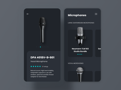 Dark Microphones App mobile app mobile design dark ui screen ui uxdesign userinterface dark theme dark app daily ui userexperience ux uiux mobile music microphone uidesign darkui dailyui dark