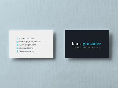 My business card vector userexperience branding corporate identity gonzalez laura designer multimedia uxdesign photoshop illustrator mockup design identity corporate business cards businesscard business