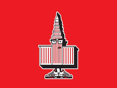 Cleveland's own Terminal Tower cleveland red branding skull and crossbones jordans illustraion vector