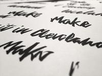 Distressed Brush Script Process Shot