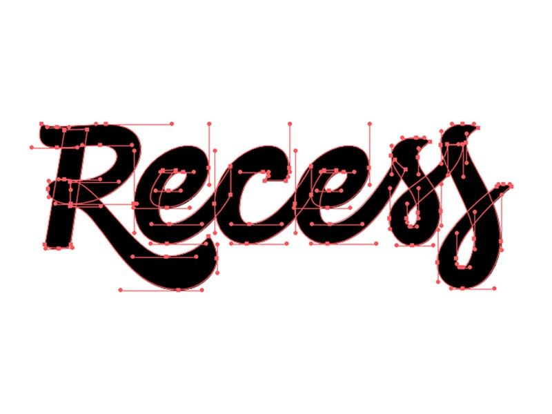 Recess Script Pt 2 vector machine vector script process logo lettering handtype hand lettering handlettering calligraphy brush pen beziercurves