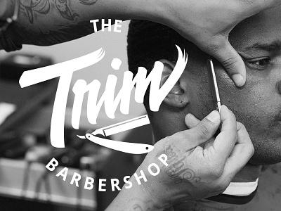 Trim Barbershop Logo vector script hand lettering type logo lettering handlettering logotype barber