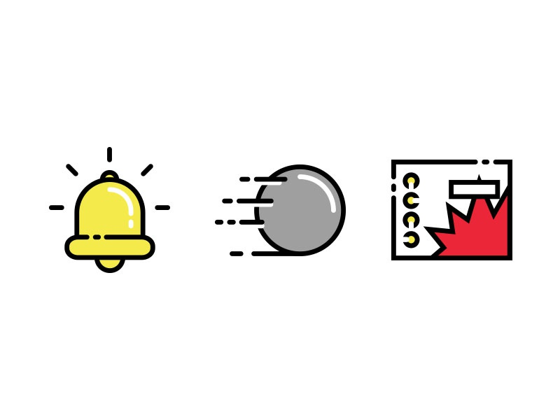 Pinball Icons iconography bright silkscreen flat app design vector pinball