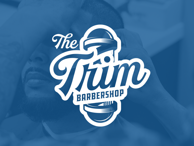 The Trim Barbershop script barbershop graphic branding logo