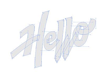 Hello Points vector machine vector script process logo lettering handtype hand lettering handlettering calligraphy brush pen beziercurves