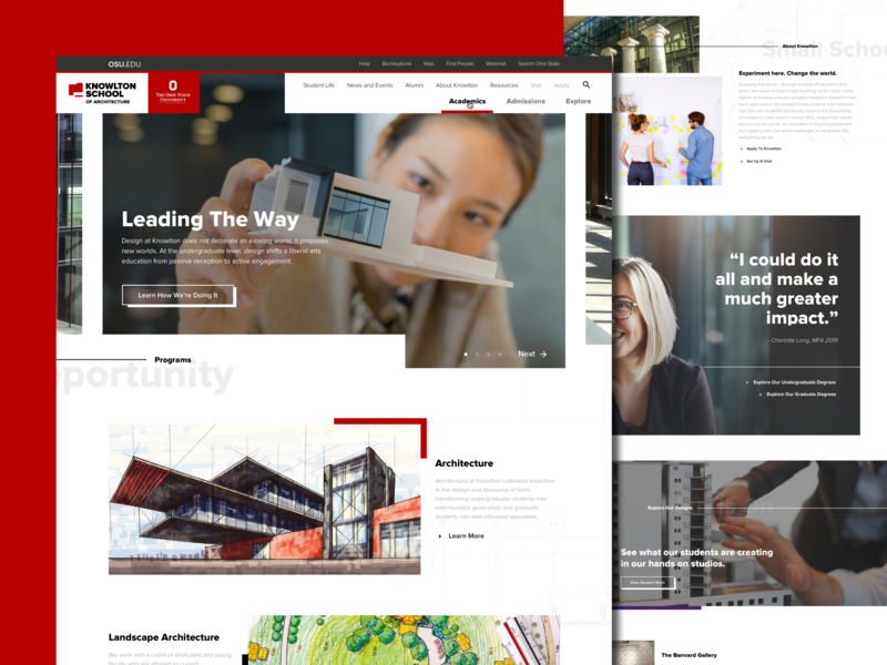 Knowlton School of Architecture - The Ohio State University homepage web layout ui ui design college architecture web design university
