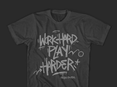 Work Hard Play Hard Tee hand drawn branding type graphic agency tee shirt lettering hand lettering