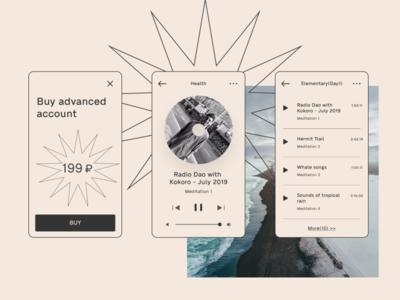 meditation app2 music player ui meditation app meditation app designer illustration figma uiux app design
