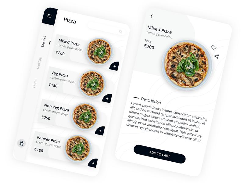 Online Pizza app flat minimal app design typography branding app design ux ui