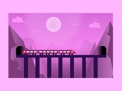 Illustration View For A Train design vector illustration