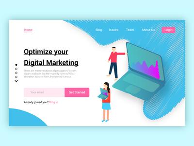 Digital Marketing Web Page typography illustration design web ux ui