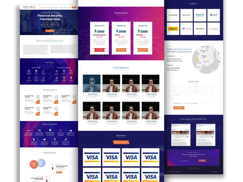 DSCI FINSEC CONCLAVE 2019 Event Website illustration web website typography branding design ux ui
