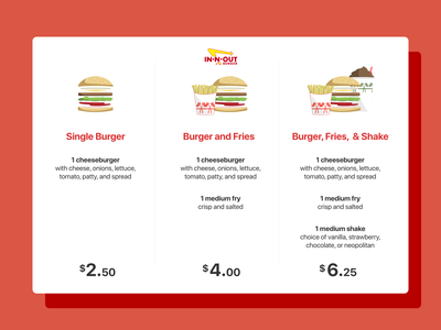 Daily UI 030 / Pricing food burger menu innout pricing dailyui30 dailyui030 minimal daily100 dailyui ui
