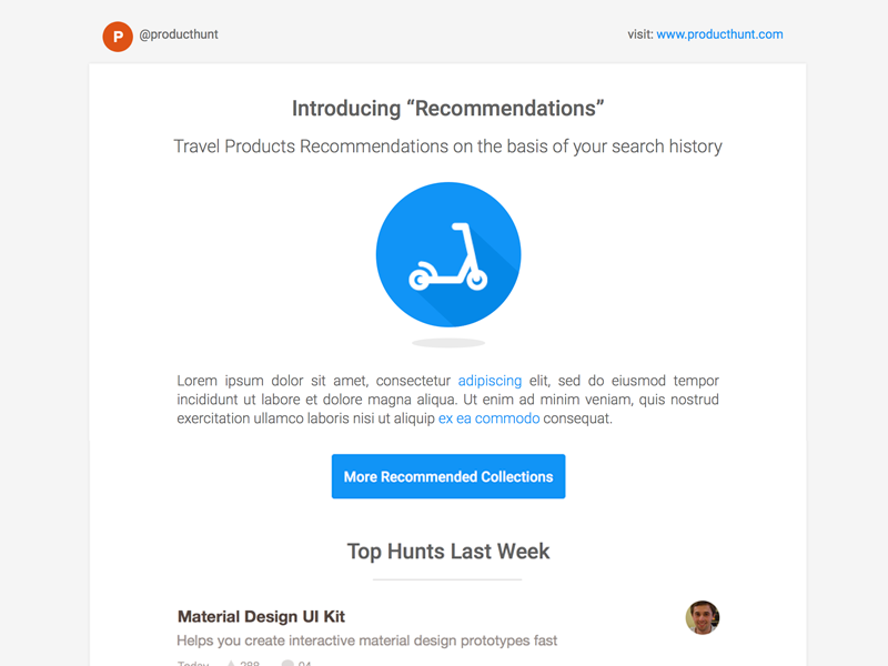 Producthunt Mailer ReDesign product hunt producthunt clean mailer newsletter sketch flat ui freebie ui recommendation