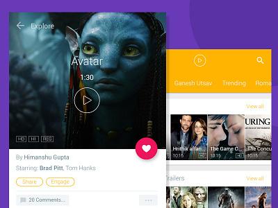 Video Streaming App ui design store movies material mobile iphone flat ios minimal app video
