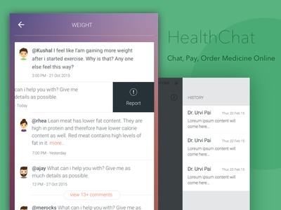 Healthchat cards history payment patient doctor interface app ios health tech chat health