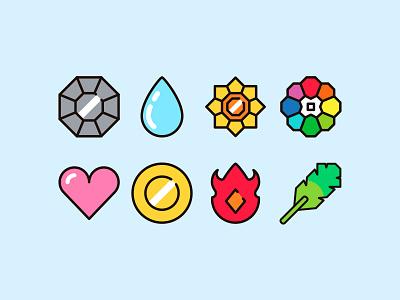 Pokemon Badges flat icon simply flat badges pokemon icon