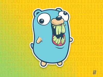 Go gopher go tech illustrator sticker vector illustration