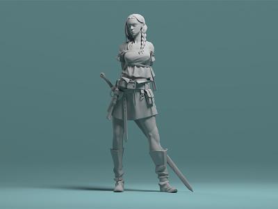 Viking Girl arnold render maya 3d zbrush