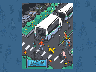 Public Transit Hero Illustration storytelling narrative public transport transit illustration digital illustration