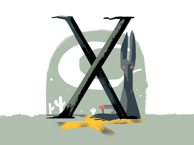 36 days of type • x folklore dropcap letter crossroads illustrated type 36 days of type illustration