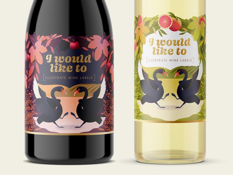 Hey Universe! packaging design packaging swans wine bottle label design label procreate illustration swan illustration swan winery wine label wine