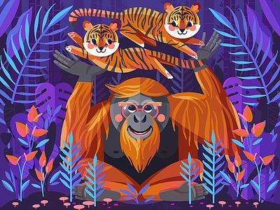 Orangutans Daycare for Procreate 4.2 tiger orangutan childrens book illustration childrens illustration kidlit illustrator illustration