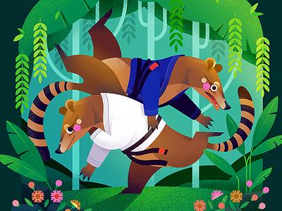 Coati Brazilian Jiu-Jitsu Tournament jiu jitsu martial arts coati procreate illustration