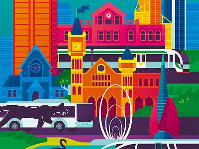 Transperth Tourist book Cover transperth perth vector art vector illustration illustration