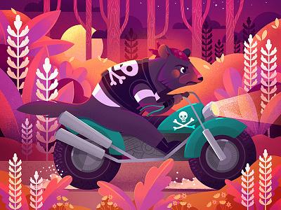 Procreate LiveDraw Result motorbike tasmanian devil tasmania australia procreate childrens book illustration childrens illustration illustrator illustration