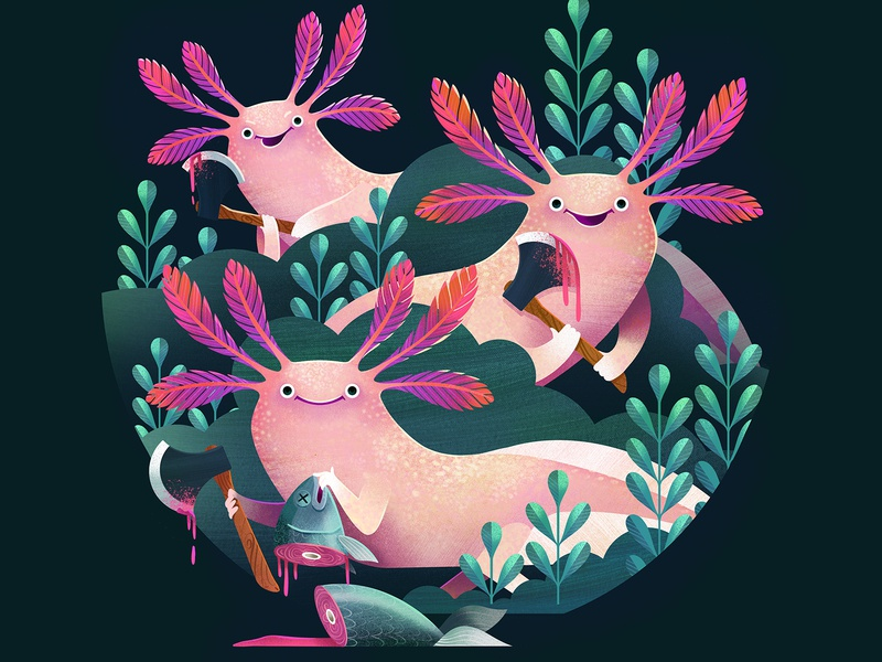 AXE-o-lotls kidlitart illustrator axolotl childrens book illustration procreate airbrush illustration