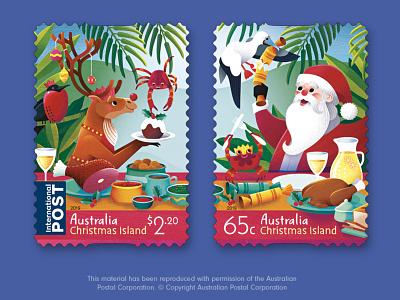 Australia Post Christmas Island Christmas 2019 Stamps postage stamp stamp design stamp christmas childrens illustration illustrator vector illustration illustration
