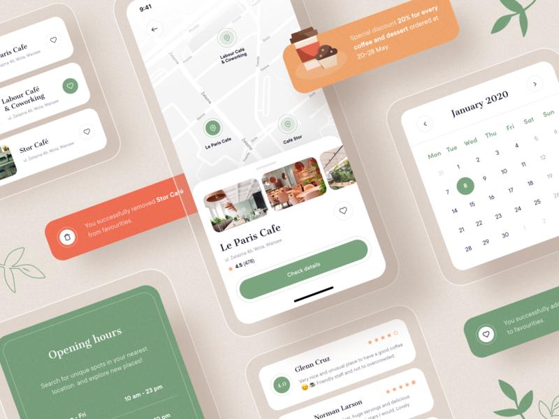 SpotFinder UI elements ios illustration maps calendar restaurant app components map 10clouds app mobile interface ux ui
