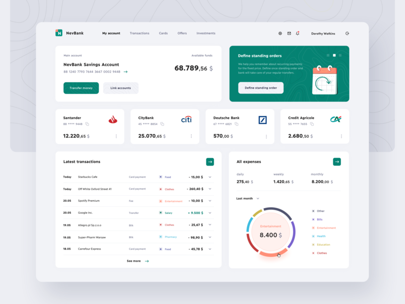 NevBank Dashboard fintech app charts banking app transfer balance transactions funds finance banking bank fintech dashboard account app interface ux ui