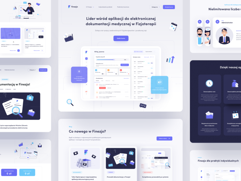 New Finezjo is live! 🎉 medical calendar appointments management landing page landing health app healthcare health illustration app interface ux ui