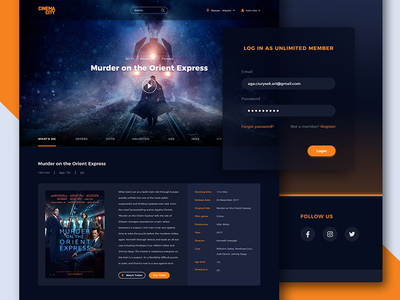 Cinema City Redesign - login & movie page