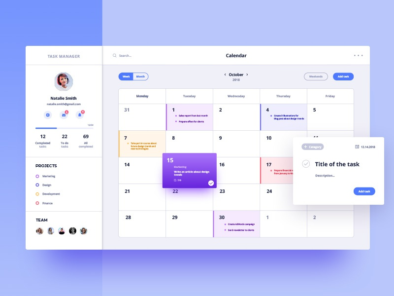 Calendar for Task Manager 10clouds account ux ui task profile interface dashboard calendar