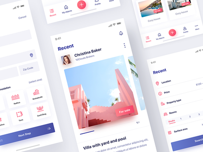 Flytta App real estate mobile ux ui newsfeed profile account interface 10clouds app
