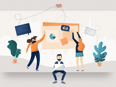 Perfect Design Workshops - Blogpost Illustration process people blog medium ux ui illustration 10clouds