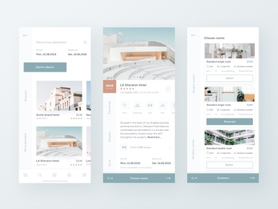 Hotel Booking App reservation design minimal hotel interface mobile 10clouds ux ui travel app booking