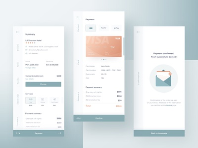 Hotel Booking App - Payment Process card travel design ux ui interface hotel reservation process payment booking app
