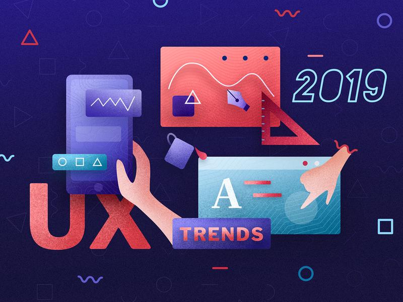 UX Trends for 2019 - Blogpost Illustration typography blog article blogpost medium gradient vector web design design 10clouds ux ui illustration