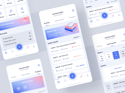 Languages learning app learning platform gradient illustration mobile calendar progress account dashboard app education learning 10clouds interface ux ui