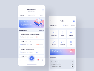 Keep learning! 📚🖍 profile progress education learning gradient mobile dashboard illustration app 10clouds interface ux ui