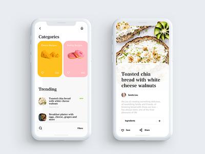Recipe app clean ui recipe app ios app design