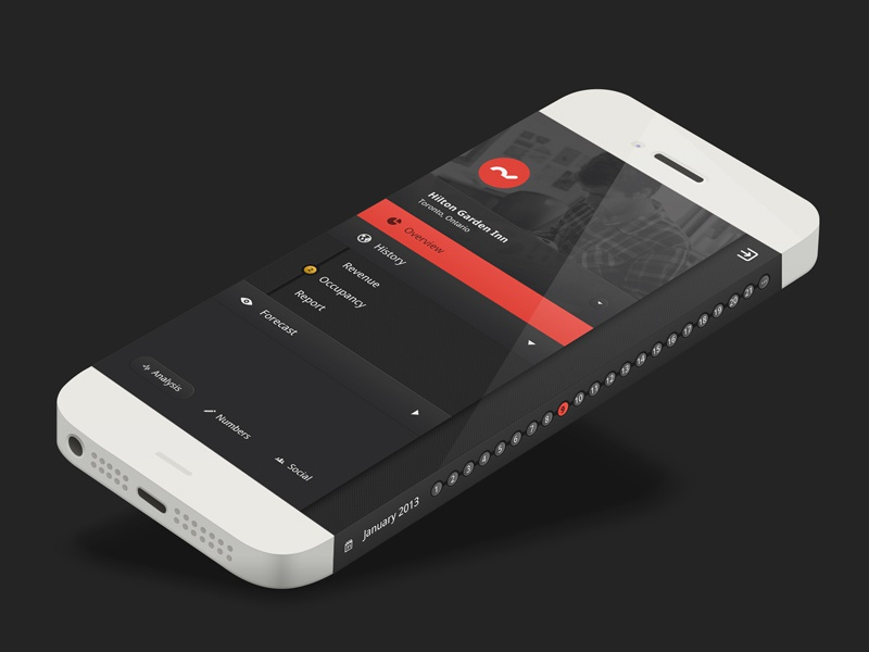 Hotel Management App Concept management app concept dark idea future red clean minimal iphone 6