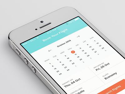 Flight Booking App Date Picker minimal date picker iphone 5 flight booking app clean simple ui ux